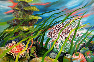 underwater painting, jill saur, atlanta artists