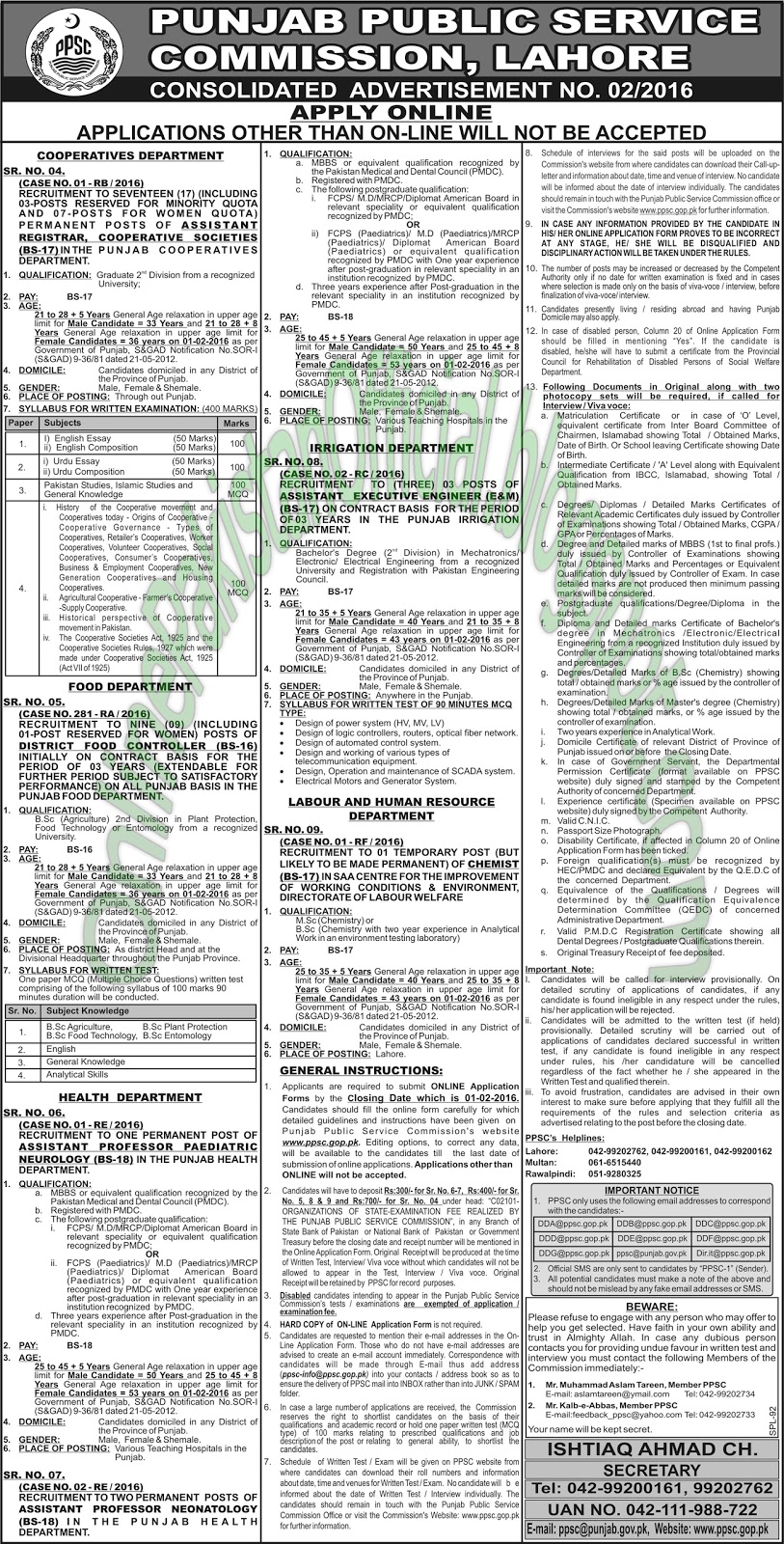 Punjab public service commission PPSC Jobs Latest