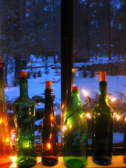 wine bottles winter