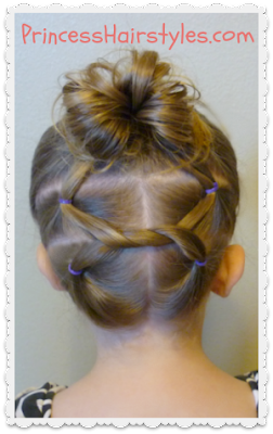 """shoelace knot"" bun gymnastics hairstyle"
