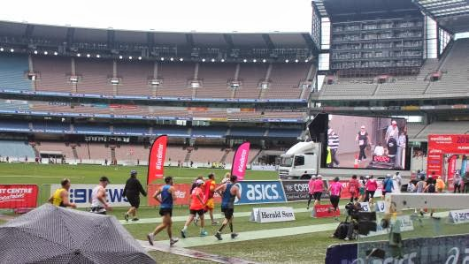 Running to the finish inside the MCG