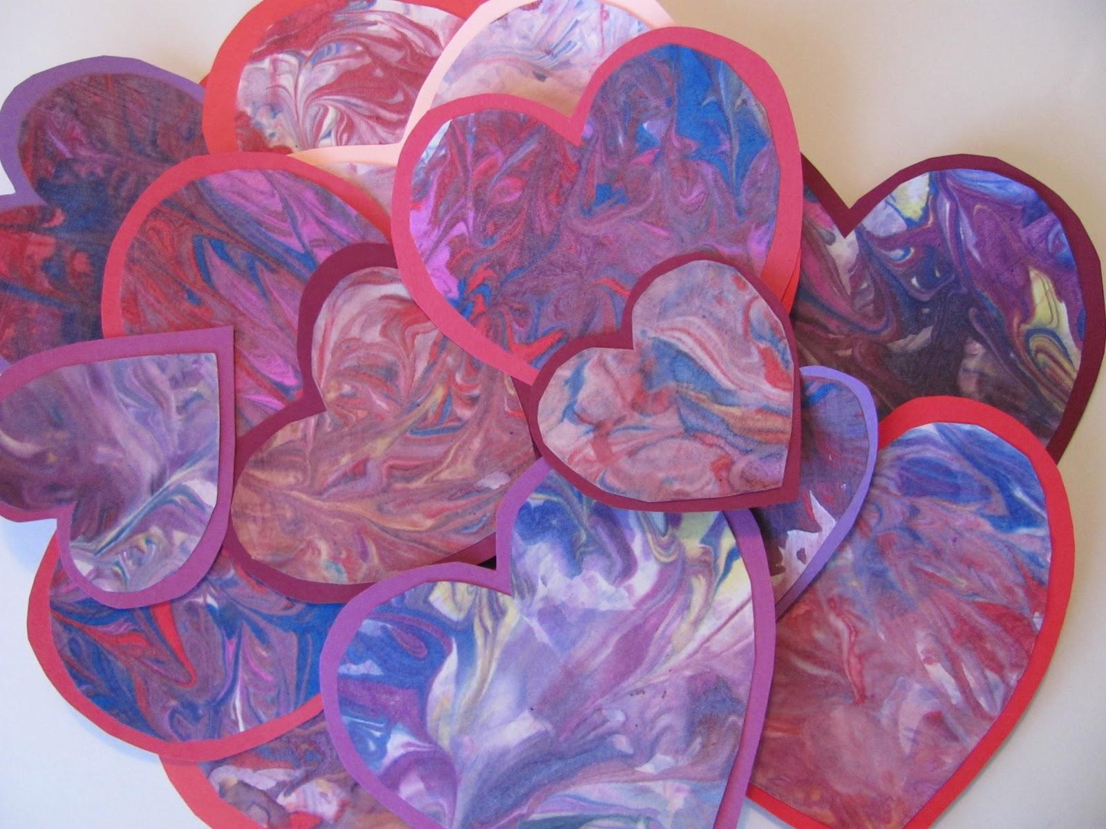 The Chocolate Muffin Tree: Shaving Cream Marbled Valentine Hearts