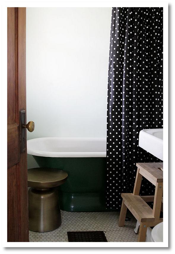 black and white polka dot shower curtain.