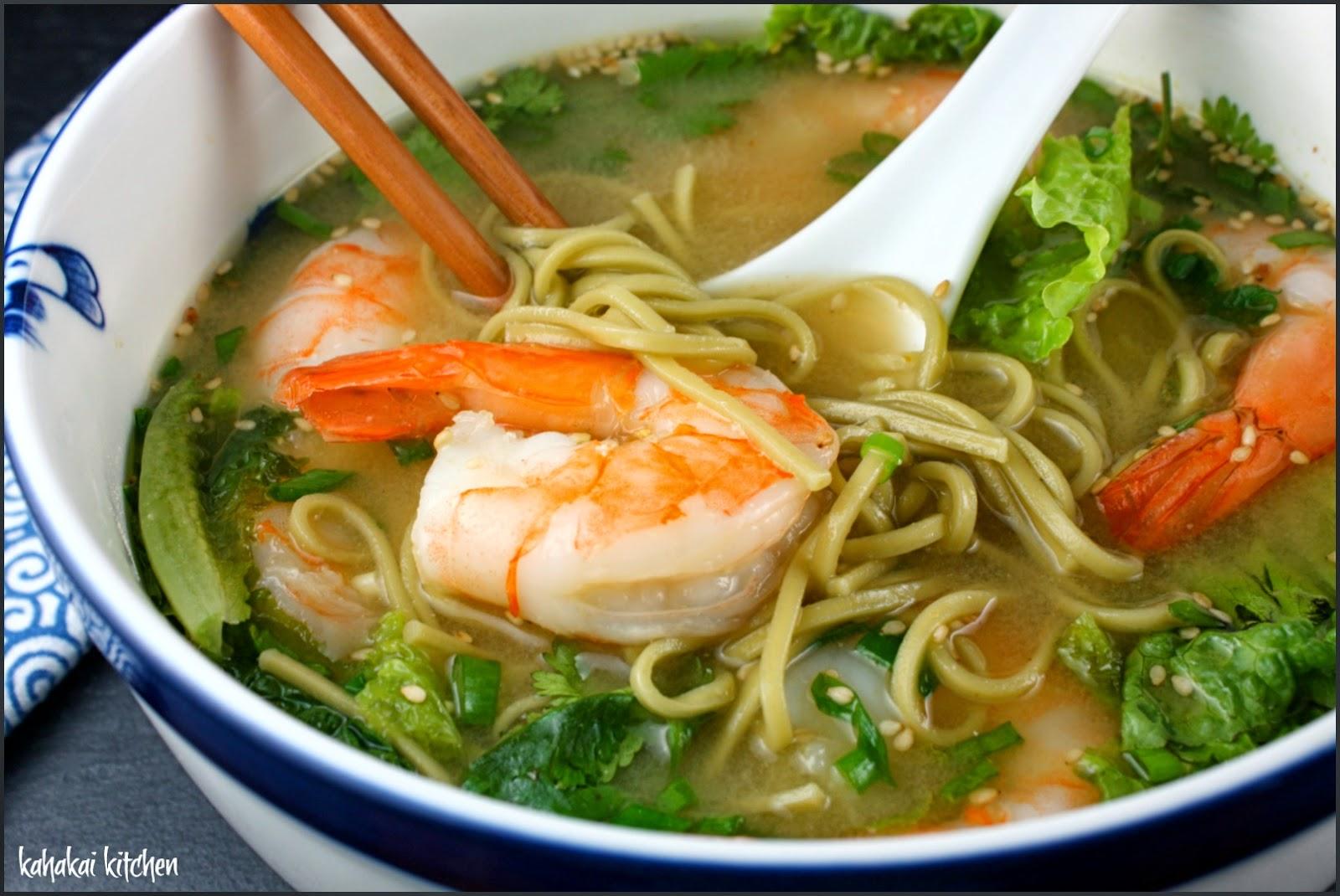 Miso Soup With Prawns And Green Tea Noodles For Souper Soup Salad Sammie Sundays