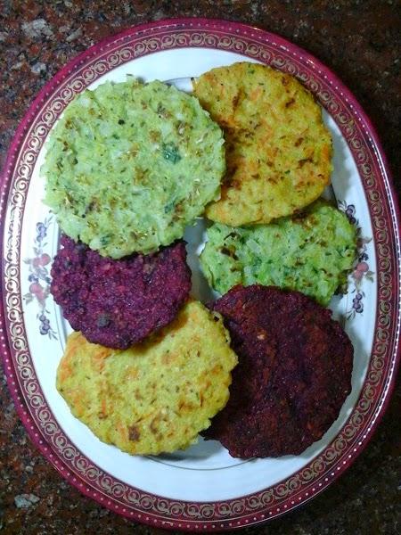 mini vegetable adais - lentil, rice and vegetable pancakes
