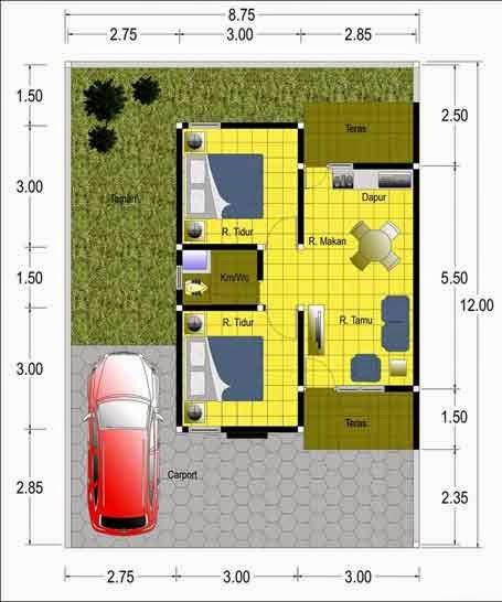 Contoh 2. Denah Rumah Minimalis Type 45