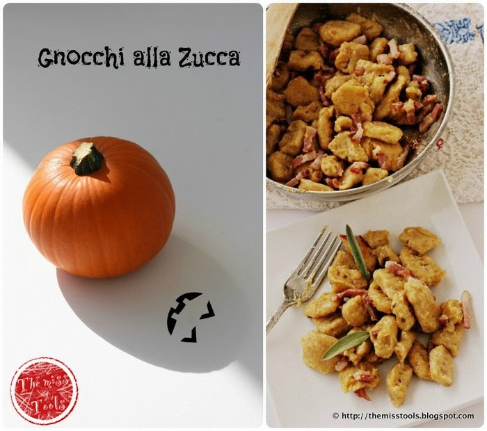 Pumpkin gnocchi with butter, bacon and sage