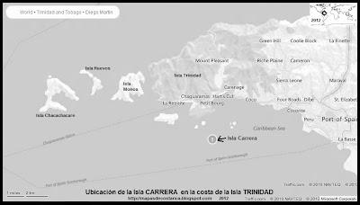 Isla Carrera, Ubicacion de la Isla Carrera en la costa de TRINIDAD, blanco y negro (bing)