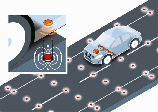 Volvo road-integrated magnets autonomous car