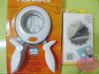Fiskars 2 inch circle punch and EK Success 2.25 inch scallop circle punch
