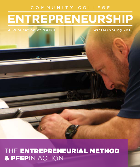 Cover or magazine.  Headline: The Entrepreneurial Method & PFEP in Action.  Working in the background fixing a machine.