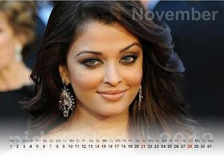 Aishwarya Rai Desktop Calendar 2012