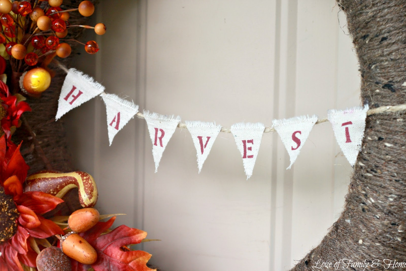 Love Of Family & Home: Fall Wreath With Harvest Bunting {Pool ...