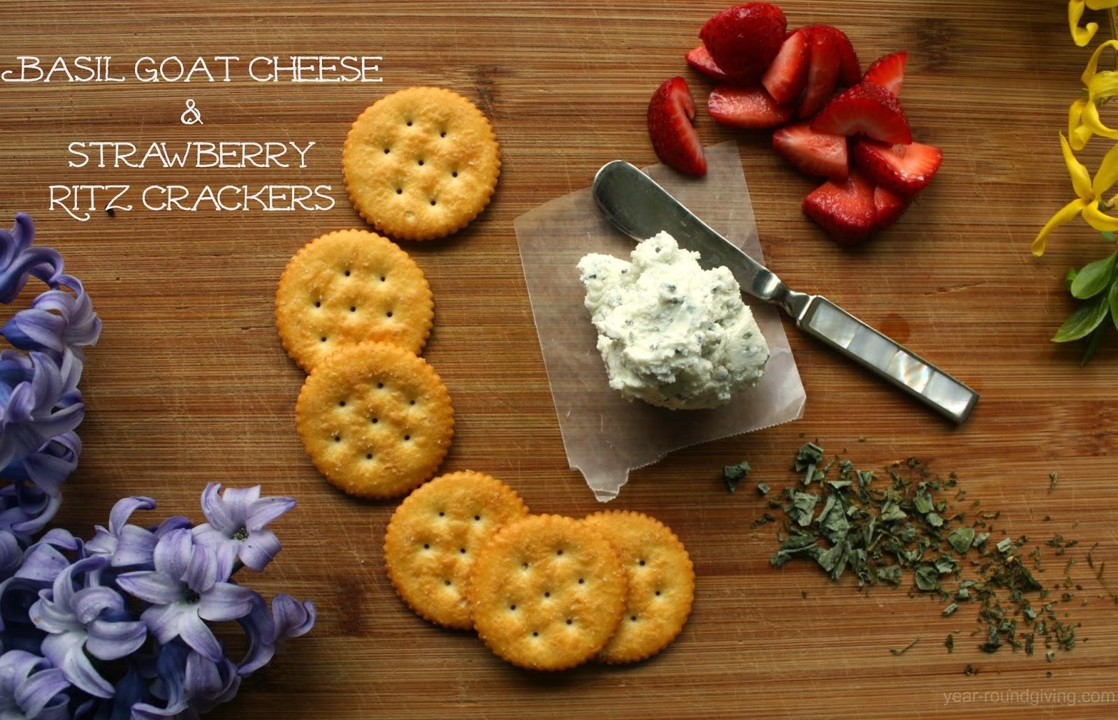 Basil Goat Cheese & Strawberry Ritz Crackers