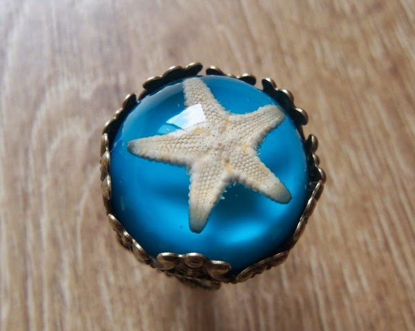 Real Starfish in Resin Ring