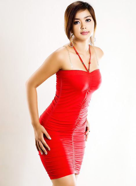 Sexy Model Nwe Nwe Tun  in red dress
