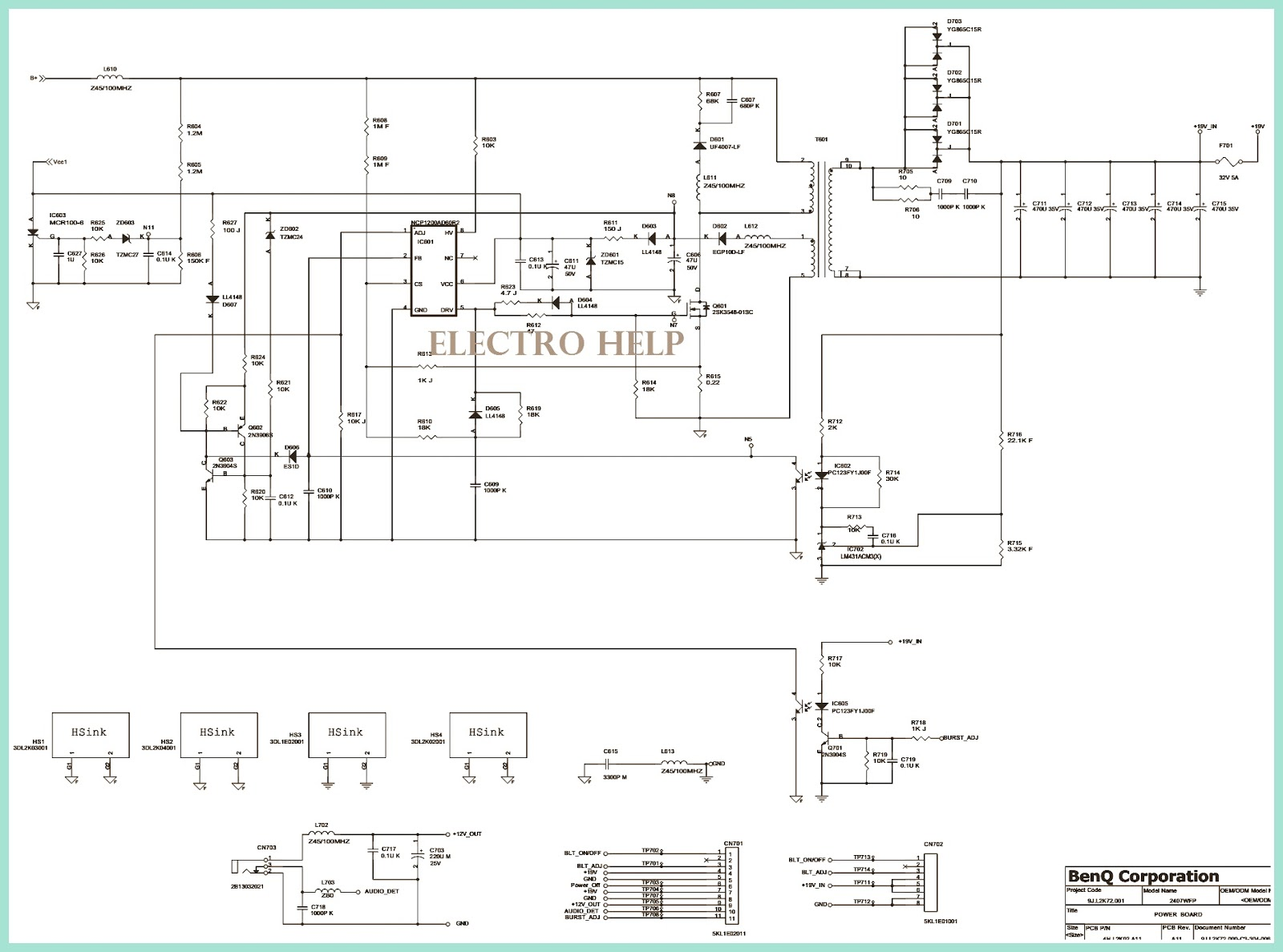 dell 2407 and benq lcd monitors power supply regulator board schematic