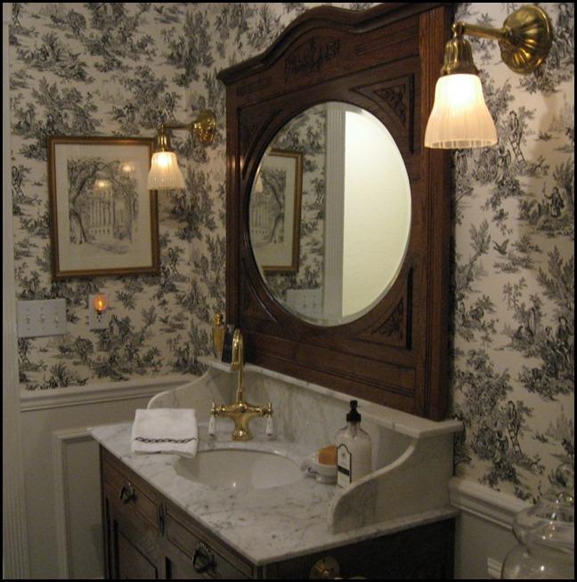 Bathroom Wallcovering French Toile Room Decor Bathroom: Ash Tree Cottage: Getting Pretty In A Powder Room