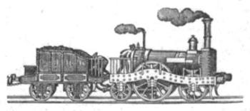 Abbildung einer Dampflokomotive der DEEG von 1851