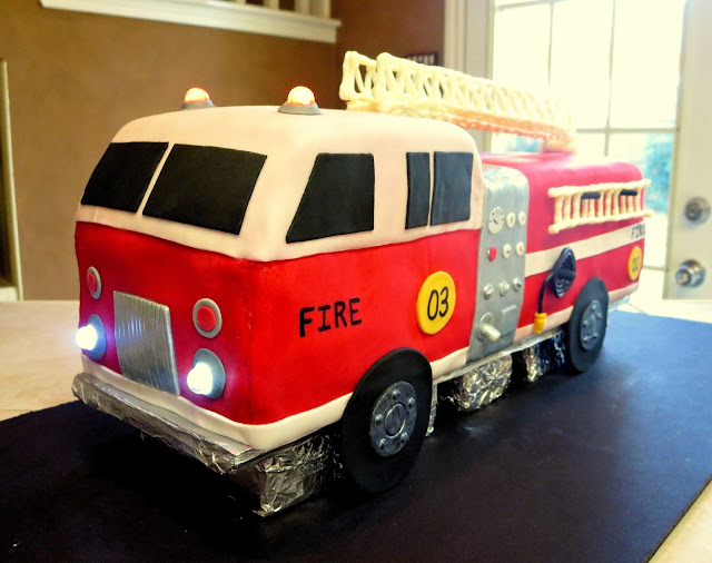 3D Fire Truck Cake - Close Up - Lights On