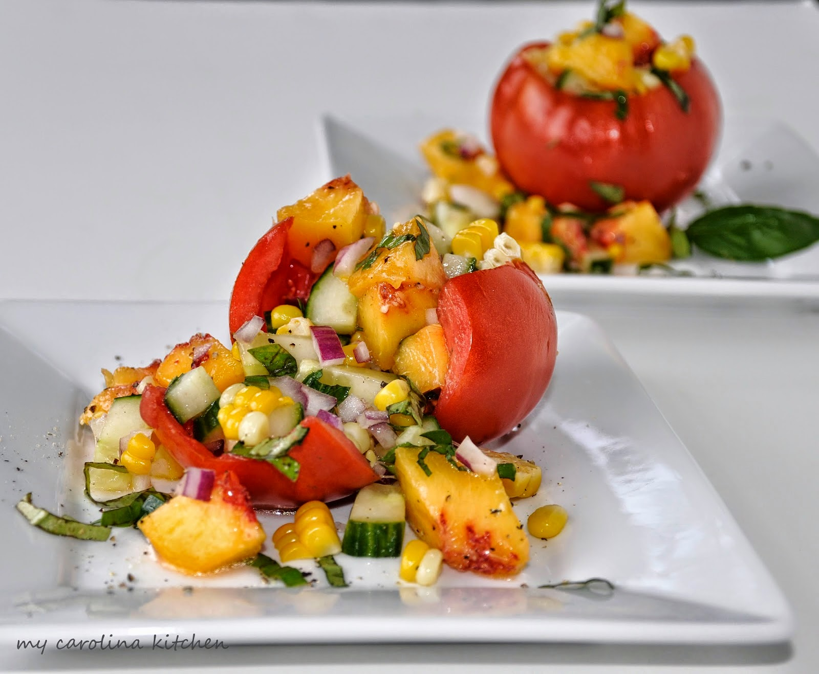 Tomato And Peach Salad With Goat Cheese Recipes — Dishmaps