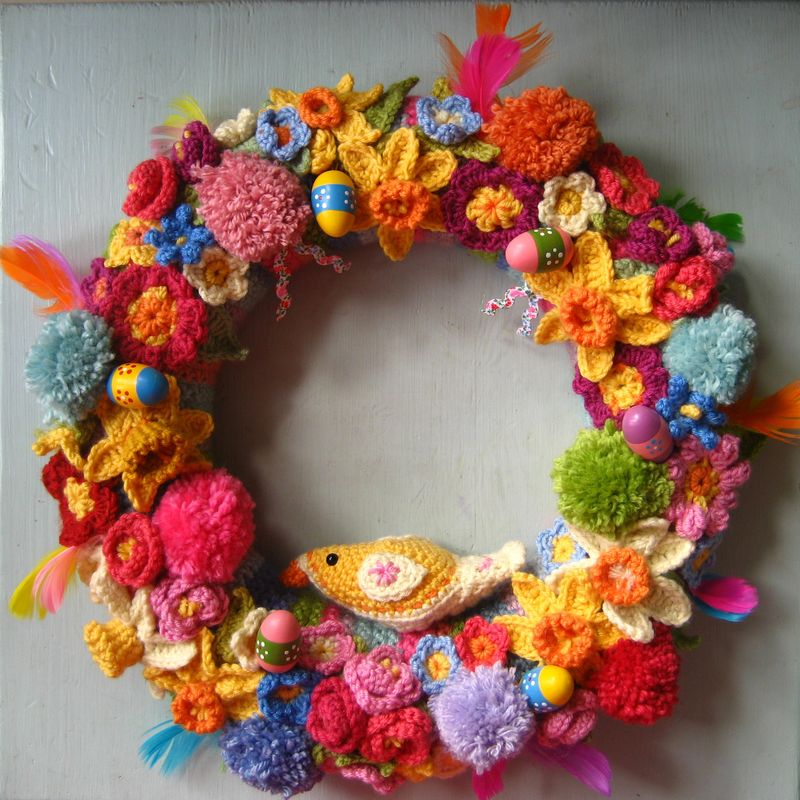 image attic 24 crochet wreath spring easter flowers