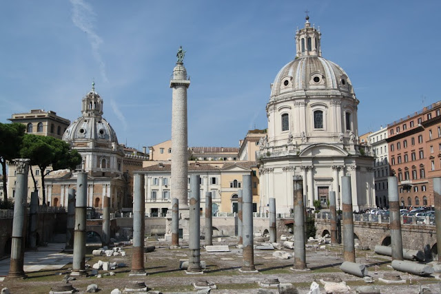 The remains of the Roman columns in the heart of the city in Rome, Italy