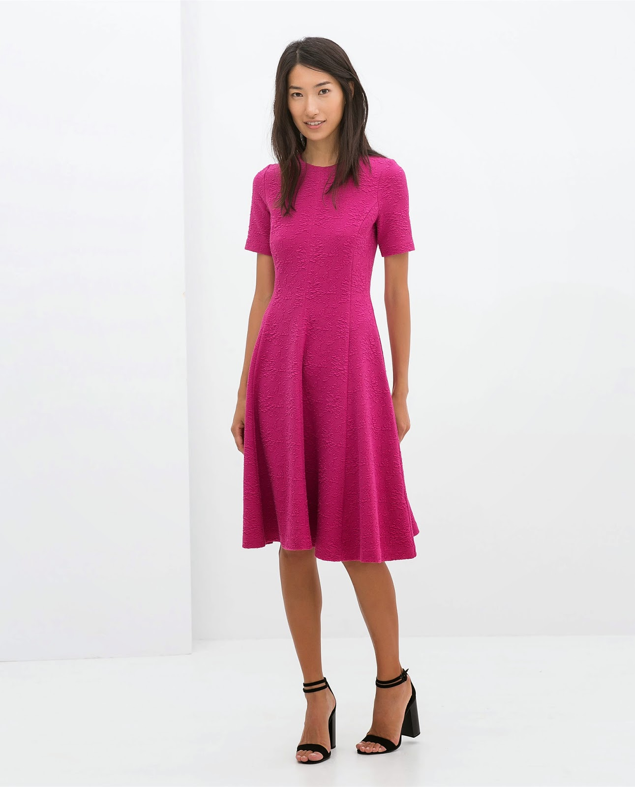 zara bright pink dress