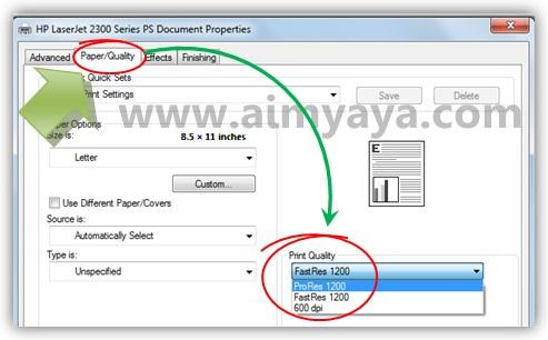 Gambar: Contoh cara mengatur properties / setting printer HP LaserJet 2300 series agar menjadi lebih baik