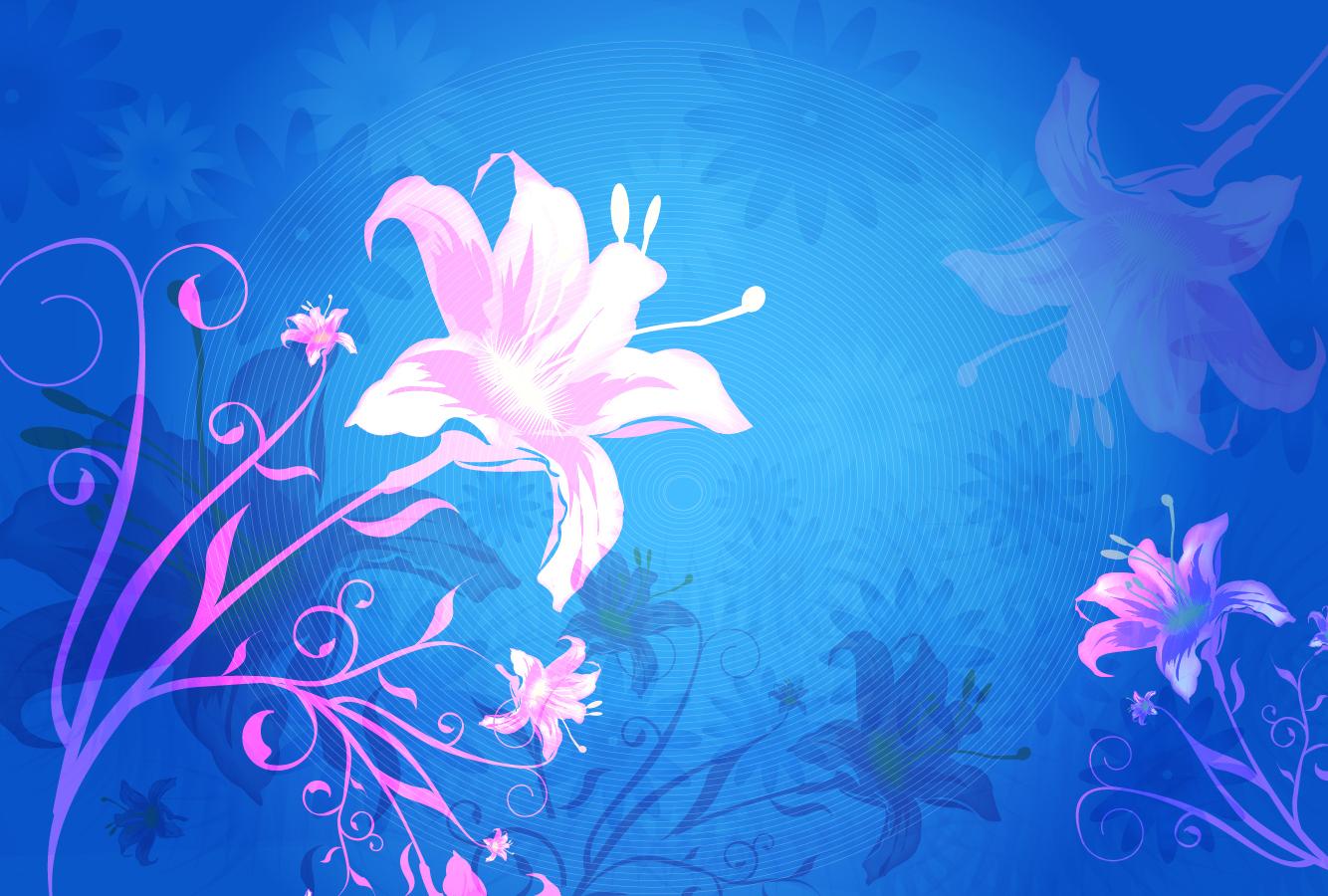花ビラが美しい青い背景 flower background vector graphic イラスト素材