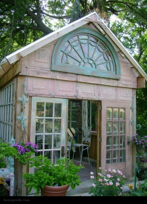Ren e finberg 39 tells all 39 in her blog of her adventures for Garden potting sheds designs