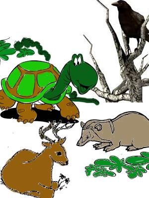 cerita fabel burung gagak, kura-kura, musang dan kijang