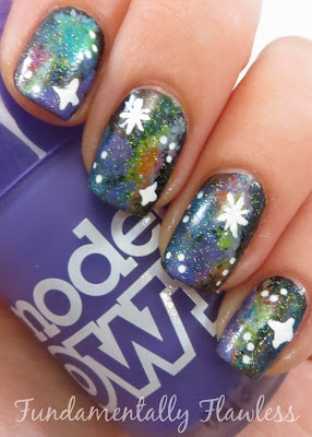 Neon Galaxy Nails with Models Own Pukka Purple on Fundamentally Flawless