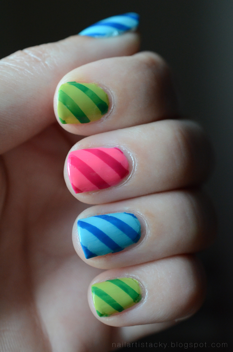 Rainbow Candy Cane Nail Art