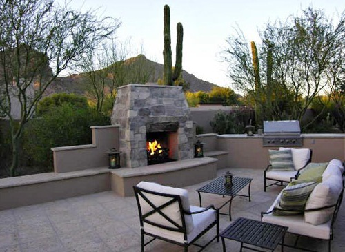 Modern Stone Outdoor Fireplace