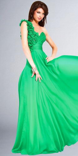 One-shoulder-green-long-party-dresses