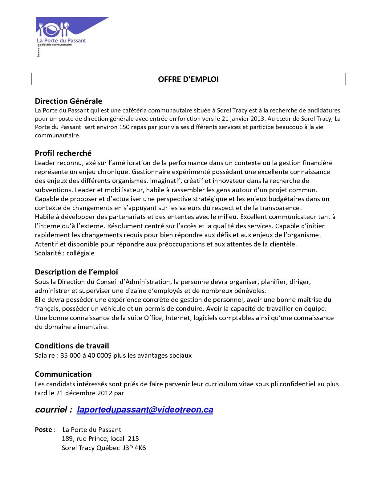 La cdc ici montmagny l 39 islet offre d 39 emploi la porte du passant - Offre d emploi pret a porter paris ...