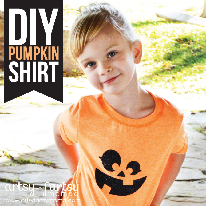 DIY Pumpkin Shirt at artsyfartsymama.com #Halloween #kids #pumpkin #cricut