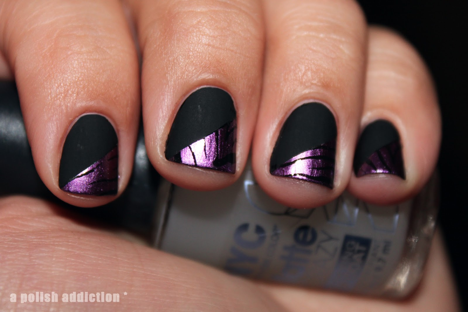 A Polish Addiction: Matte Black and Purple Zebra Stamping Nail Art