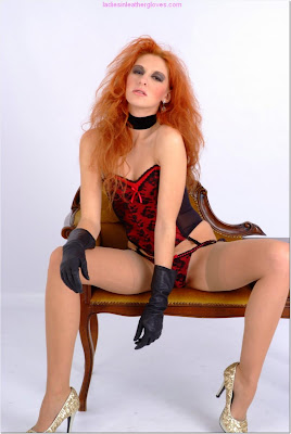 Fetish redhead Corset, Stockings and Leather Gloves
