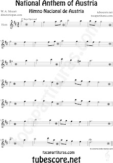 Partitura del Himno Nacional de Austria para Trompa y Corno Inglés National Anthem of Austria Sheet Music for Horn, English Horn and French Horn Music Scores Note der österreichischen Nationalhymne für Horn und Englisch Horn