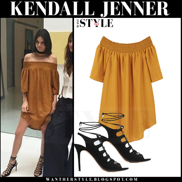Kendall Jenner in mustard off shoulder mini mango flowy dress and black lace up mango sandals what she wore mango spring 2016 what she wore