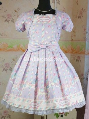 Sweet Sugary Carnival Printed Rococo Lolita Dress