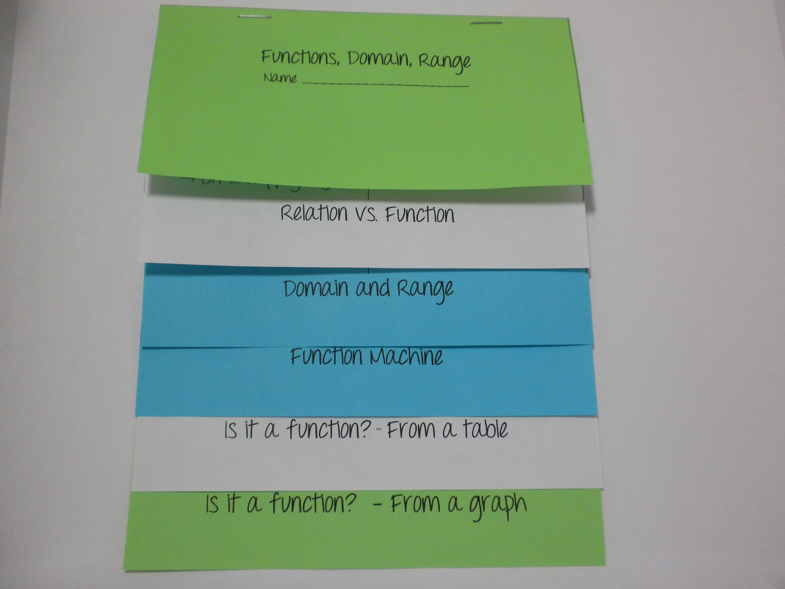 i is a number functions domain and range foldable