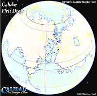 The World of Calidar, First Draft World Map, Google Earth Orthographic Projection