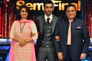 Ranbir Kapoor on the sets of Jhalak Dikhhla Jaa with parents Rishi Kapoor and Neetu Singh