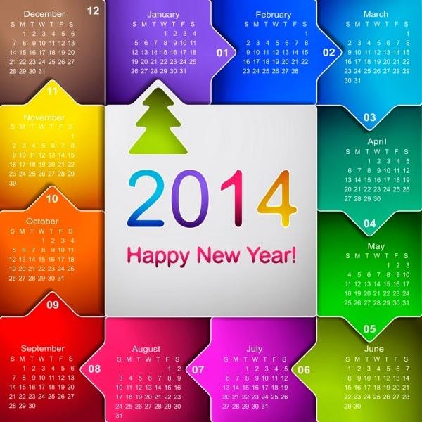 New year desktop calendars 2014 january to december - Desktop calendar design ideas ...