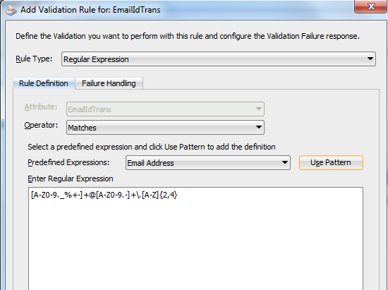 Validation rules for transient attributes