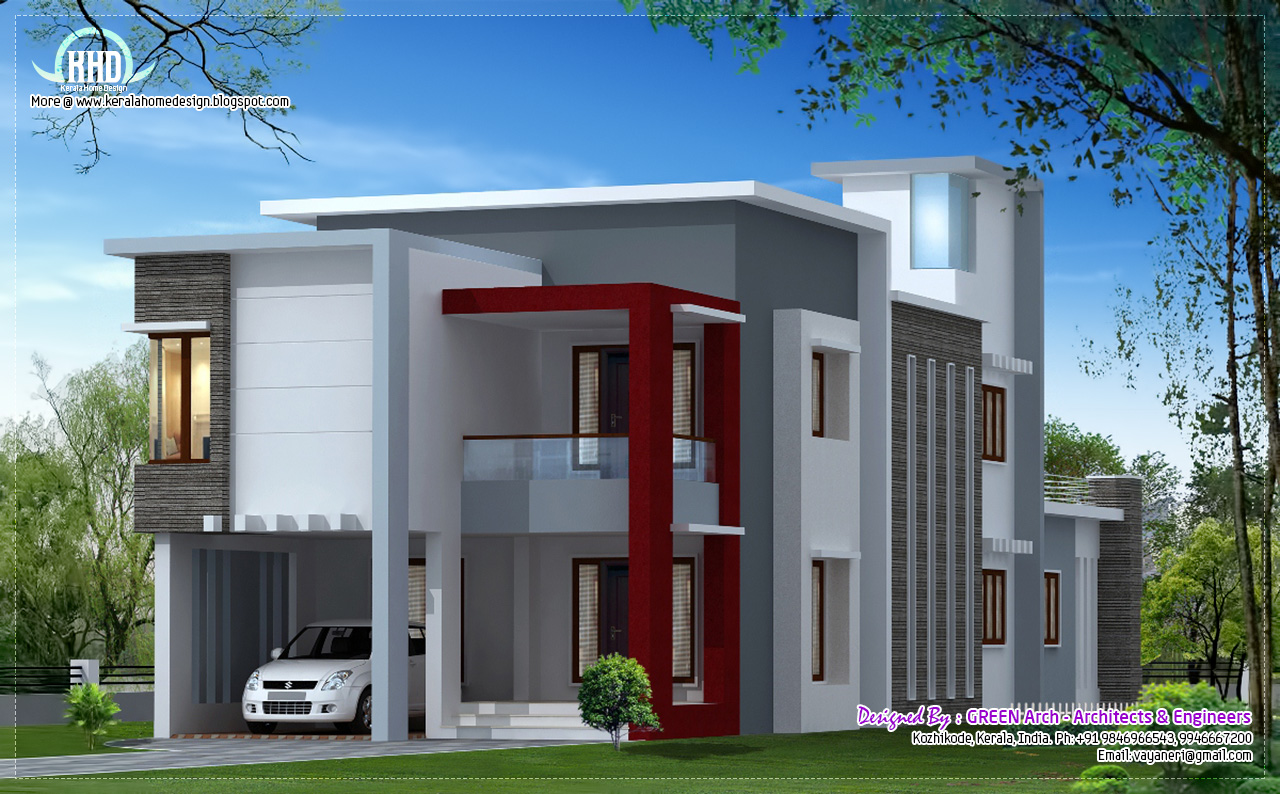 1700 Sqfeet Flat Roof Contemporary Home Design Kerala