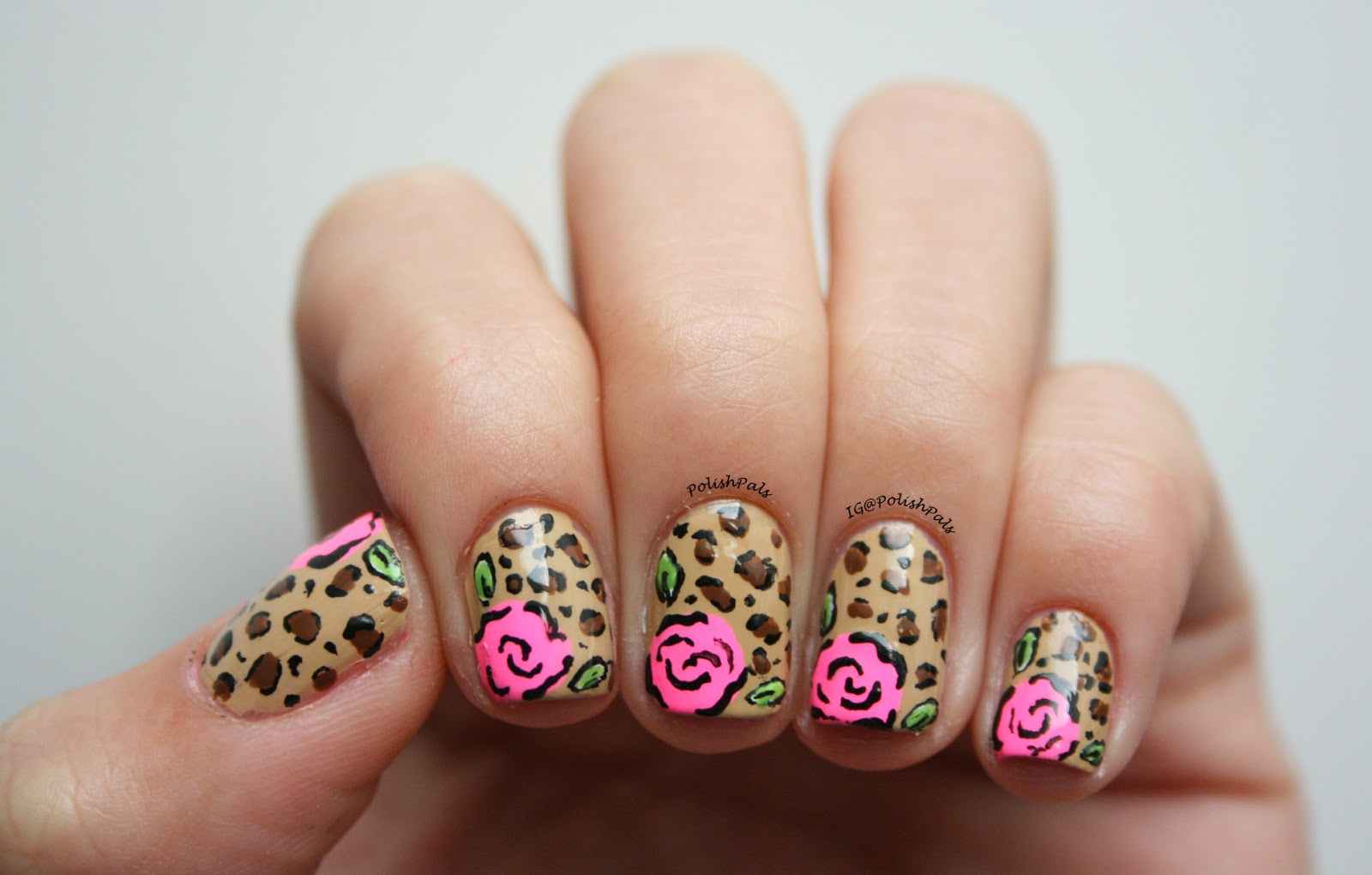 Leopard Rose Nails Tutorial